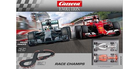 carrera car25219 1 32 evolution race champs f1 analog set. Black Bedroom Furniture Sets. Home Design Ideas