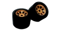 H&R Racing HR1130 27 x 18mm FISH Foam Rubber Tires 6 Spoke Gold Hubs