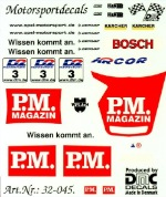 "DMC DMC32-045 Waterslide 1/32 Decal - Opel V8. ""P.M. MAGAZINE"" yellow car. DTM 2000"
