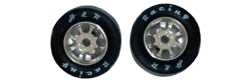 H&R Racing HR1105 27x12mm 1/24 NASCAR Wheels - SILVER with RUBBER Tire