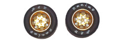H&R Racing HR1113 27x12mm 1/24 NASCAR Wheels - GOLD with RUBBER Tire