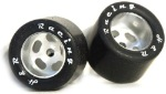 "H&R Racing HR1303 27 X 18MM Rubber Tires - Setscrew for 1/8"" Axle on aluminum wheels"