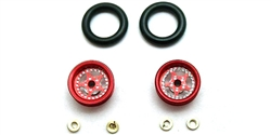 "Pro-Track PT208BR Wheelie Bar Wheels 3/8"" STAR 0.050"" Axle RED"