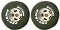 "Pro-Track PTN237A Daytona Stock Car Rears 1"" x 0.800"" 1/8"" Axle Silver Natural Rubber"
