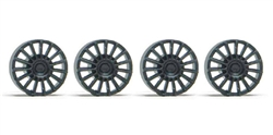 Slot.it SIPA16S Unpainted Black Plastic OZ Type Wheel Inserts for small hub (SIPA04 / SIPA17 / SIPA24S) wheels - 4 pcs./package