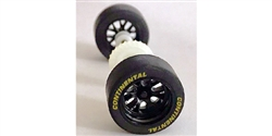 Scalextric Rear wheels, tires, bushings, gear & axle assembly for Scalextric Daytona Prototype