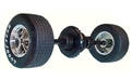 Scalextric W8761 Rear wheels, tires, gear & axle assembly with pinion for C2502 Chevrolet Corvette