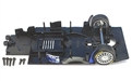 Scalextric W8817 Chassis assembly with mounting screws and front axle assembly for C2483 MG Lola EX257
