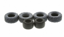 "Scalextric W9117 Tire set - 2 fronts & 4 rears for C2635 ""Batman Begins"" Batmobile"